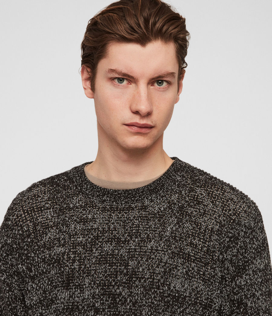 Men's Oskett Crew Jumper (black_mouline) - Image 4