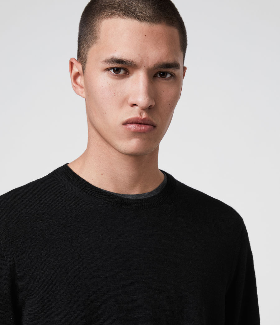 Mens Kole Merino Crew Sweater (black) - Image 2