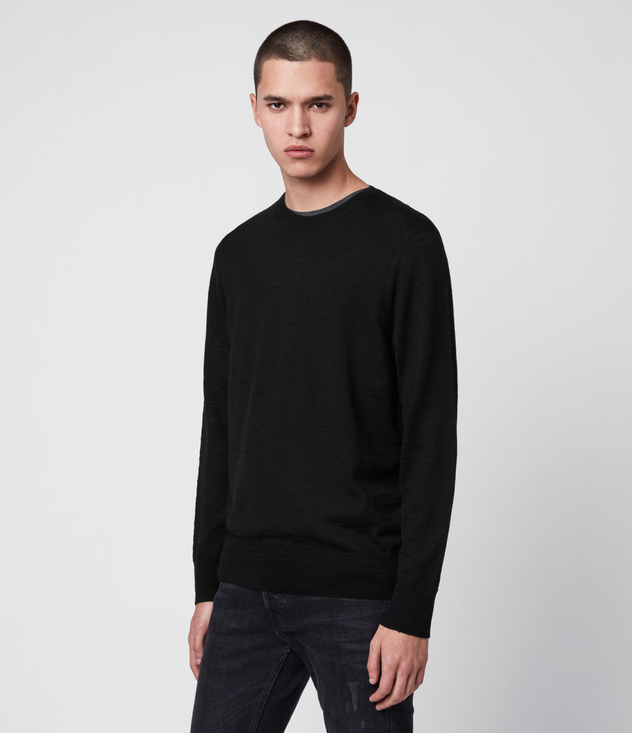 Mens Kole Merino Crew Sweater (black) - Image 4