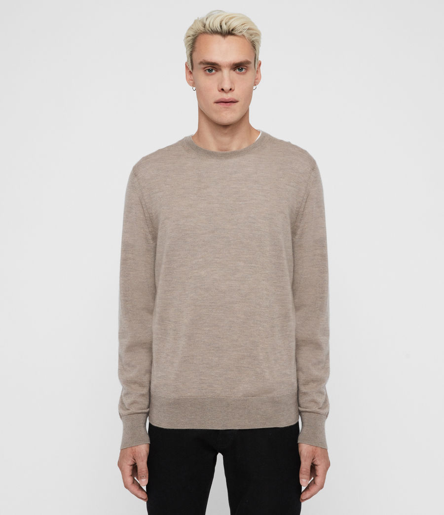 Mens Ode Cashmere Crew Sweater (fawn_brown_marl) - Image 1