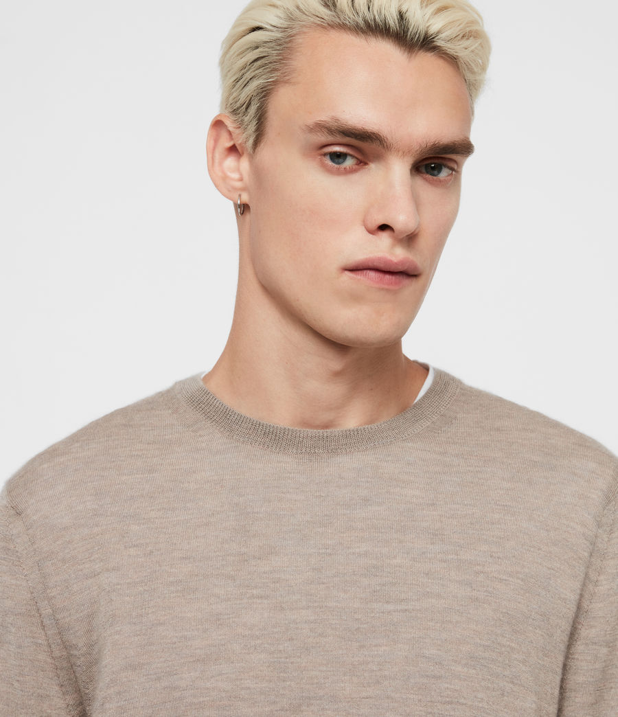 Men's Ode Cashmere Crew Jumper (fawn_brown_marl) - Image 2