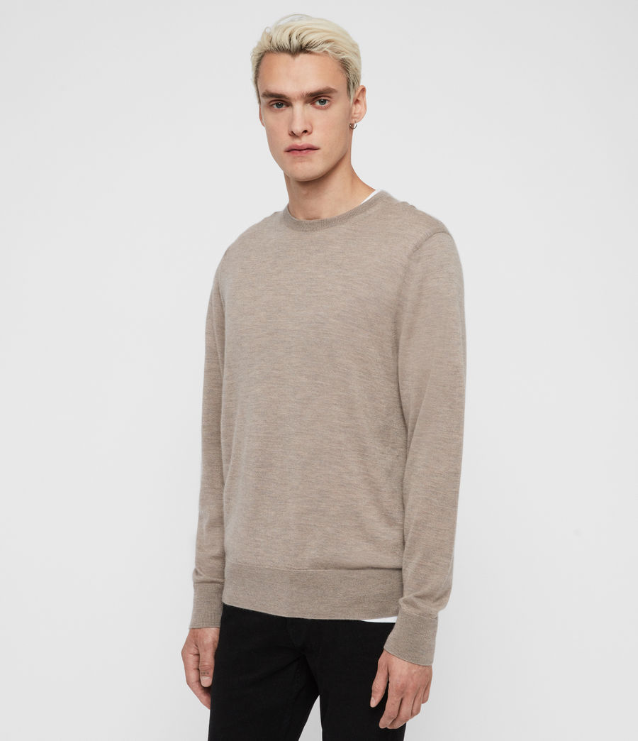 Mens Ode Cashmere Crew Sweater (fawn_brown_marl) - Image 3