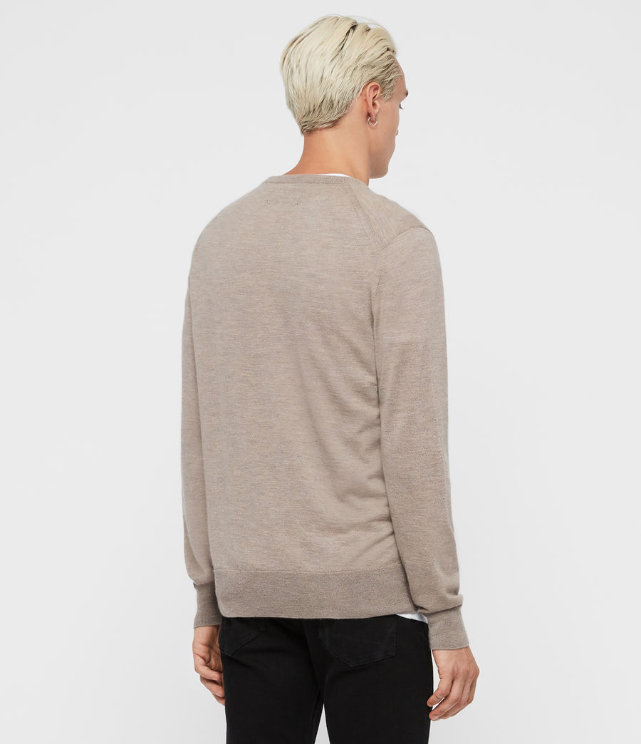 Men's Ode Cashmere Crew Jumper (fawn_brown_marl) - Image 4