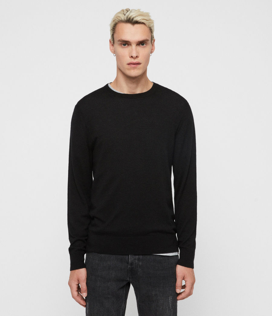 Men's Ode Cashmere Crew Jumper (black) - Image 1