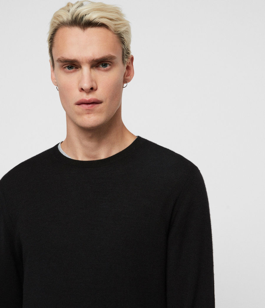 Mens Ode Cashmere Crew Sweater (black) - Image 2