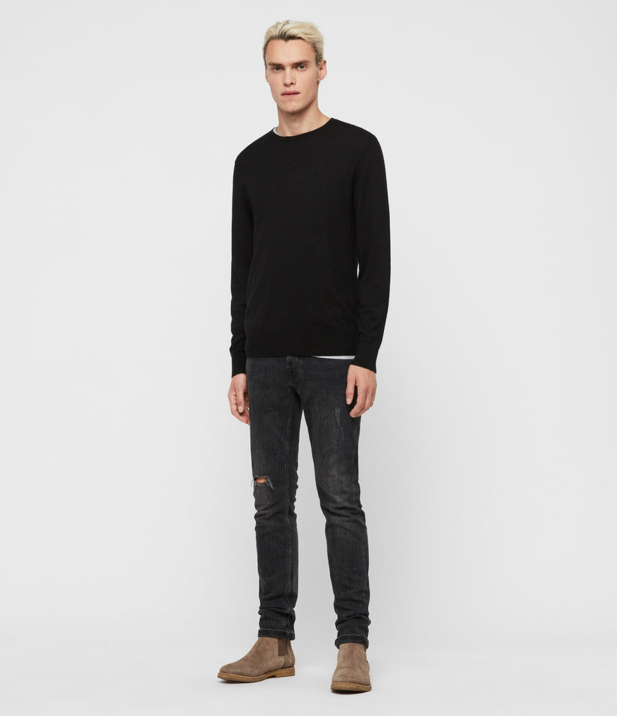 Mens Ode Cashmere Crew Sweater (black) - Image 1