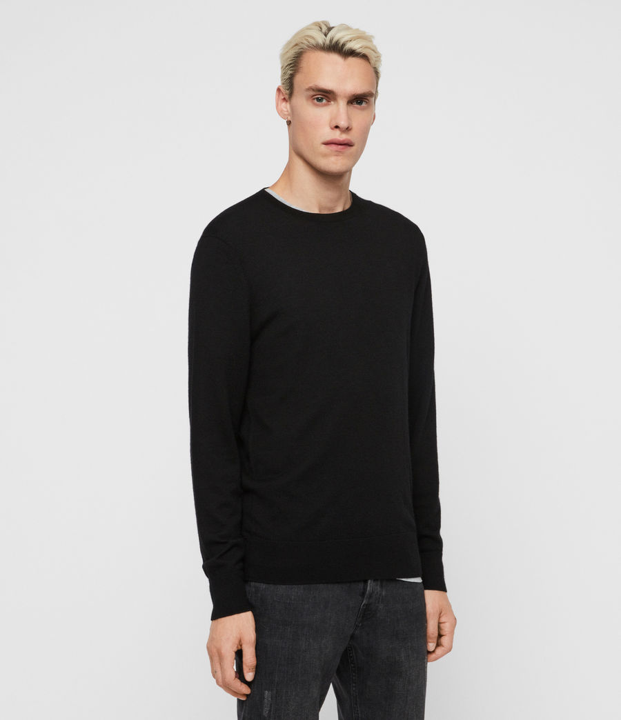 Mens Ode Cashmere Crew Sweater (black) - Image 4