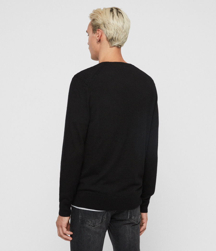 Mens Ode Cashmere Crew Sweater (black) - Image 3