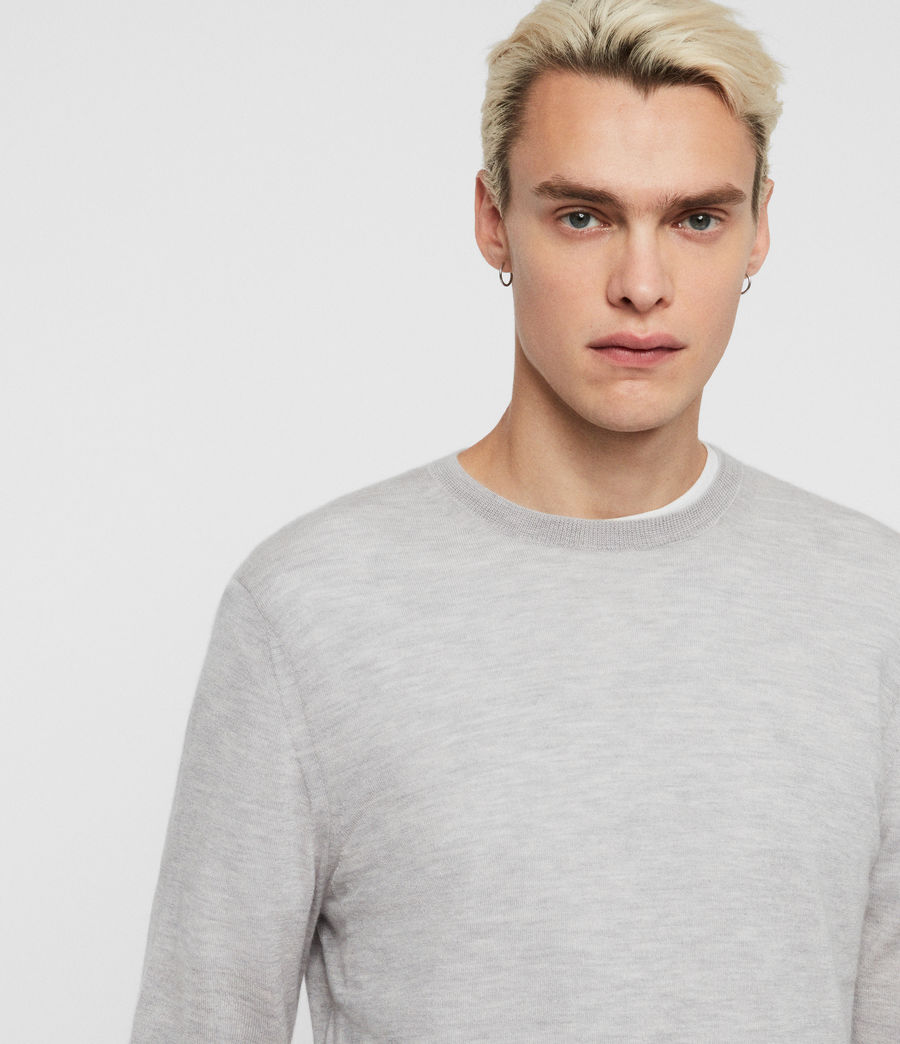 Mens Ode Cashmere Crew Sweater (light_grey_marl) - Image 1