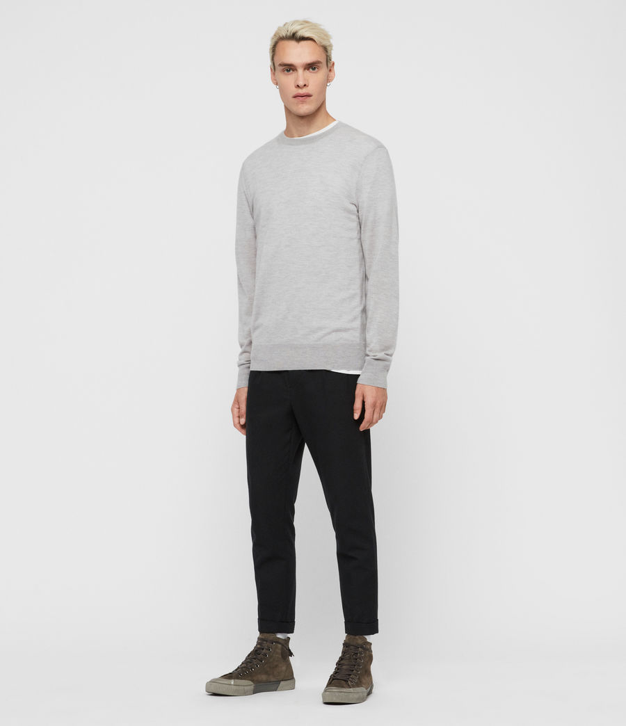 Mens Ode Cashmere Crew Sweater (light_grey_marl) - Image 2