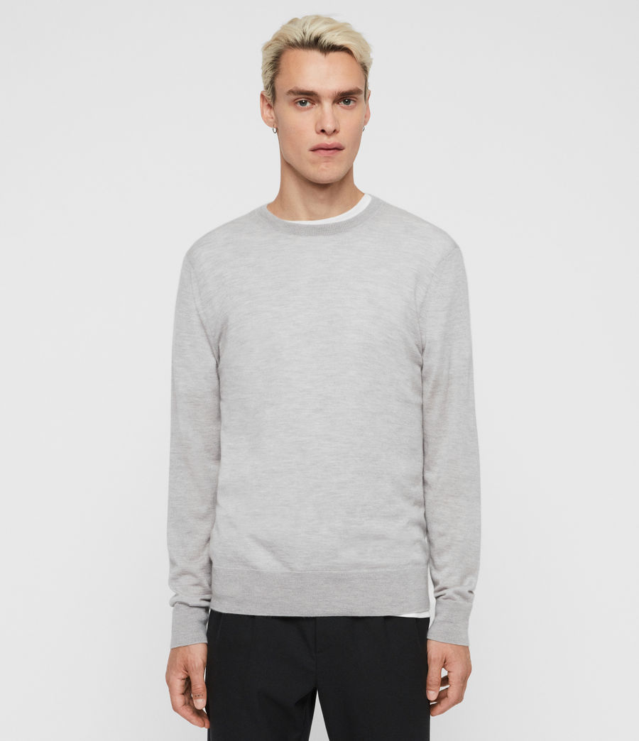 Mens Ode Cashmere Crew Sweater (light_grey_marl) - Image 3