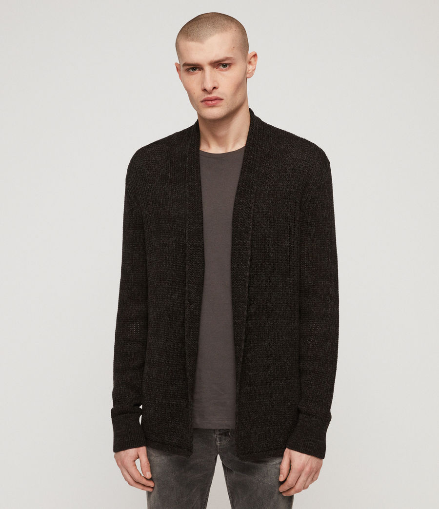 Men's Oskett Open Cardigan (cinder_black_marl) - Image 4