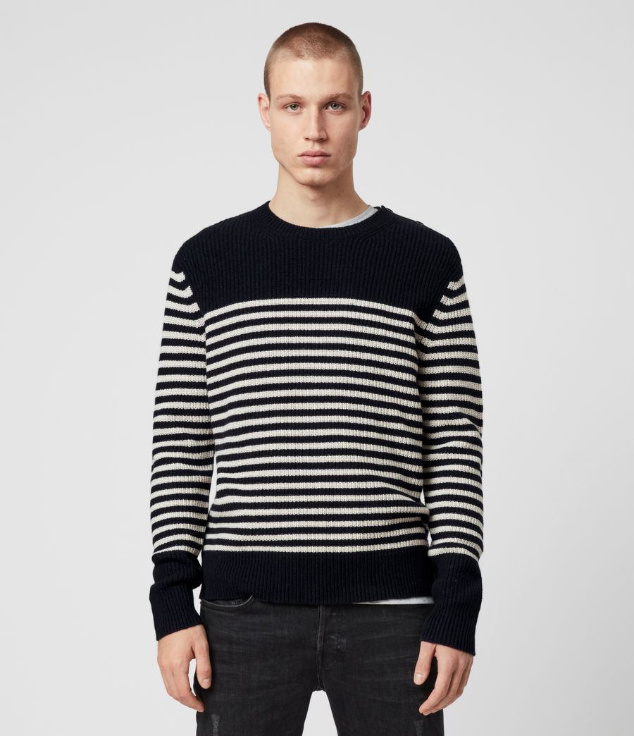 Men's Carnon Crew Jumper (ink_navy_ecru) - Image 1