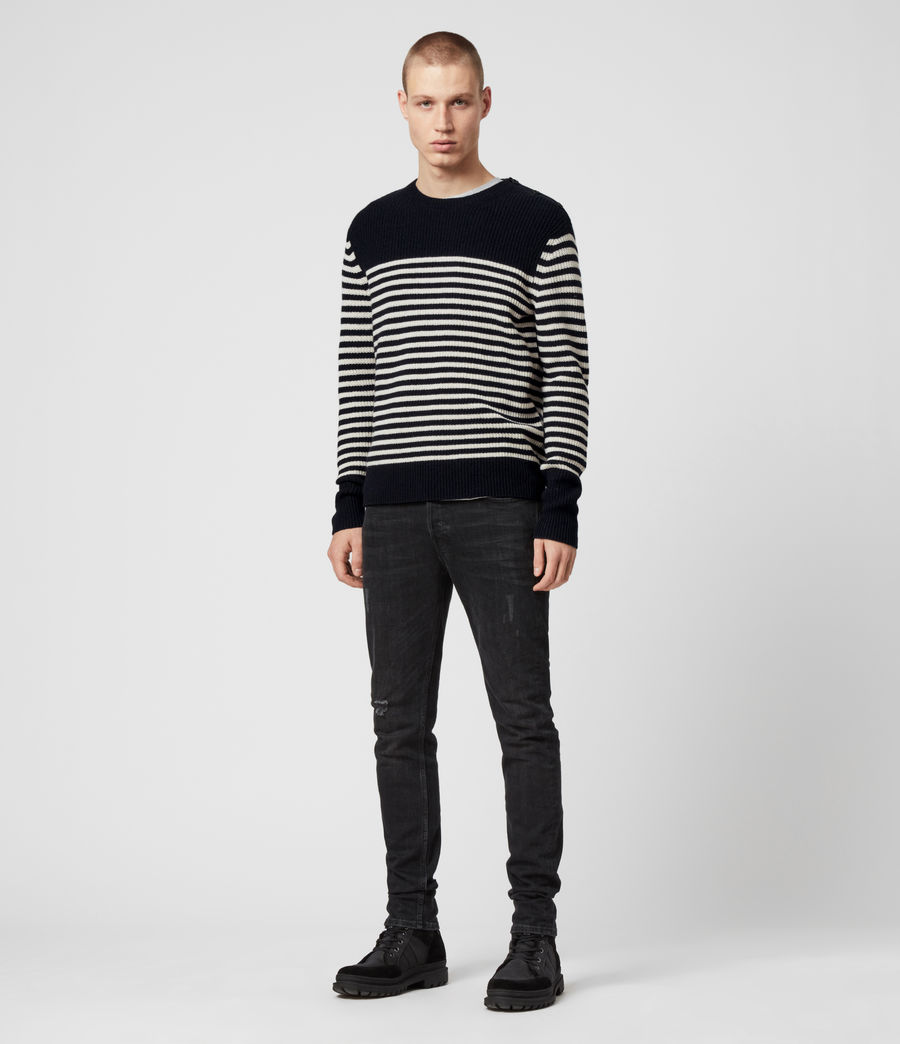 Men's Carnon Crew Jumper (ink_navy_ecru) - Image 2