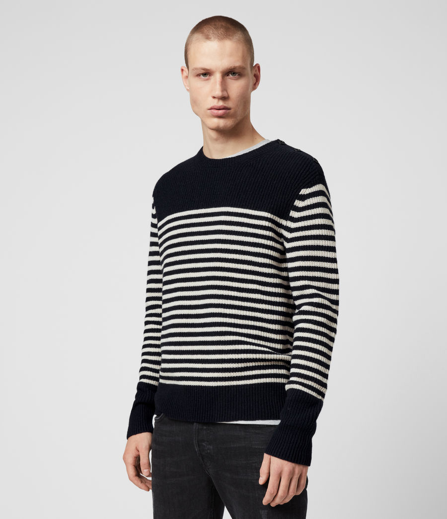 Men's Carnon Crew Jumper (ink_navy_ecru) - Image 3