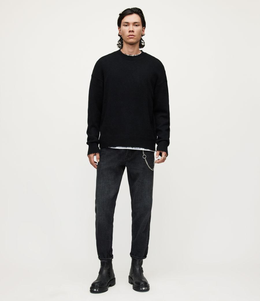 Herren Luxor Organic Wool Crew Jumper (black) - Image 3