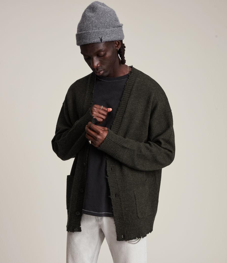 Herren Luxor Organic Wool Cardigan (cinder_black_marl) - Image 1