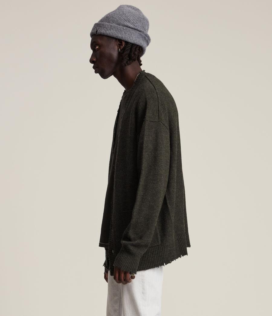 Herren Luxor Organic Wool Cardigan (cinder_black_marl) - Image 3
