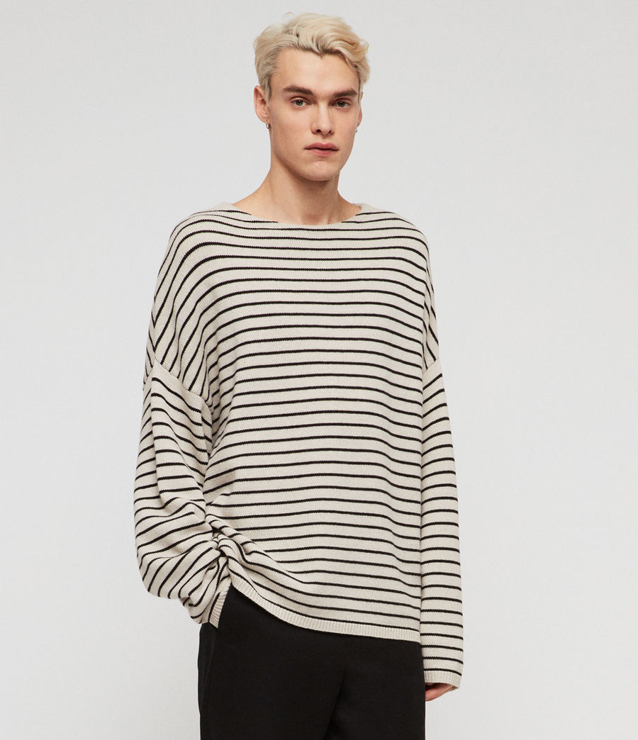 Mens Marty Crew Sweaters (ecru_white_black) - Image 1