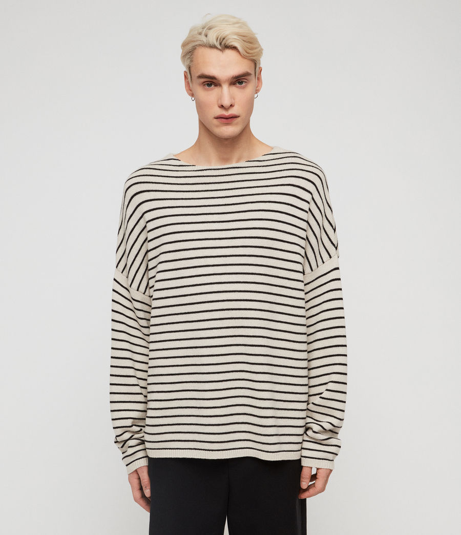 Mens Marty Crew Sweaters (ecru_white_black) - Image 3