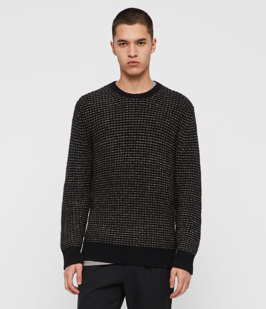 Mens Larkk Crew Sweater (black_khaki_brown) - Image 1