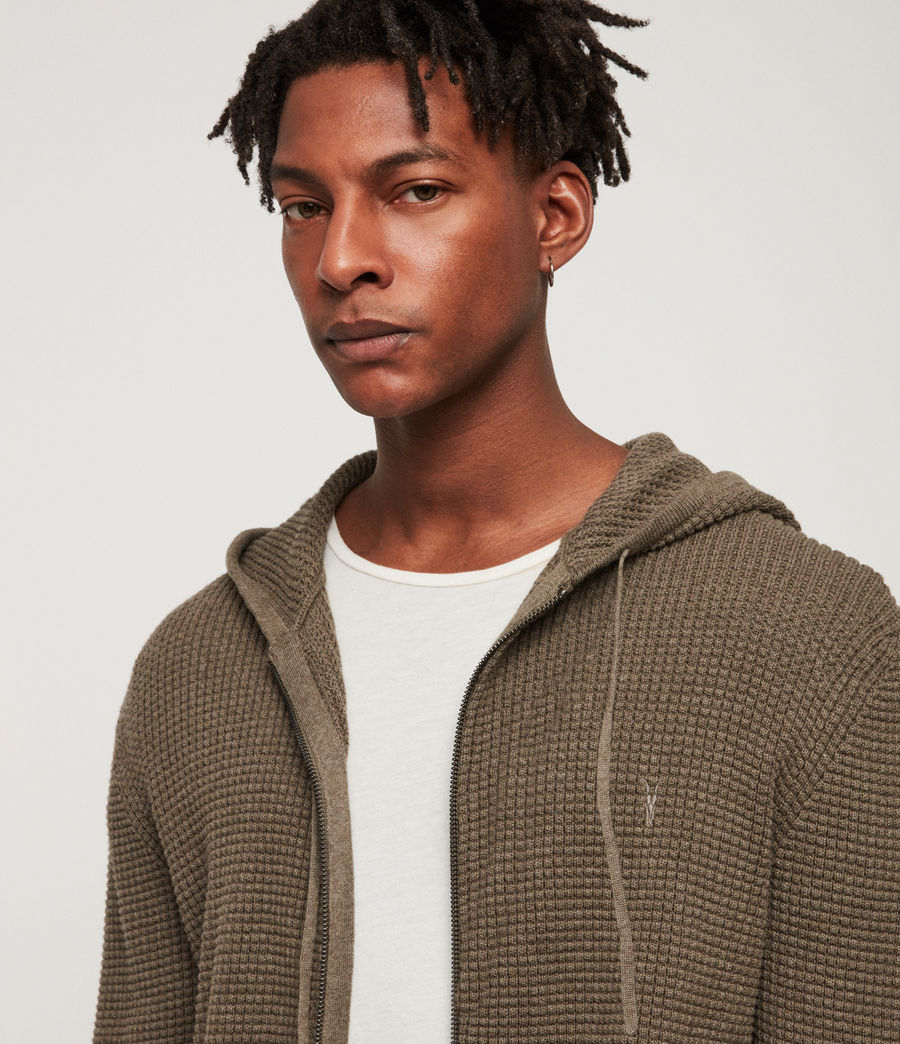 Men's Wells Zip Hoodie (bark_green_marl) - Image 2