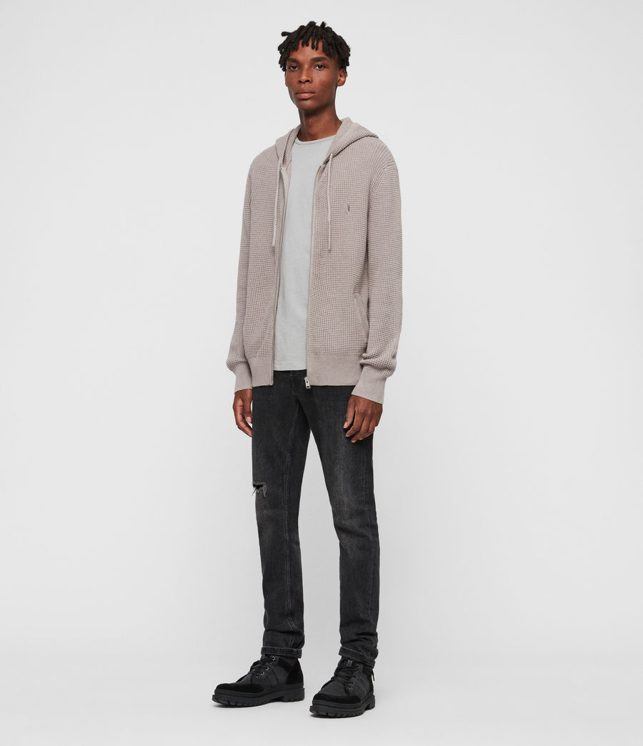 Hombres Sudadera con Capucha Wells Zip (shale_taupe_marl) - Image 3
