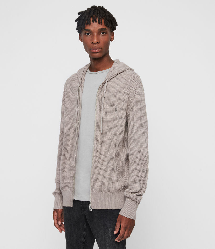 Hombres Sudadera con Capucha Wells Zip (shale_taupe_marl) - Image 4