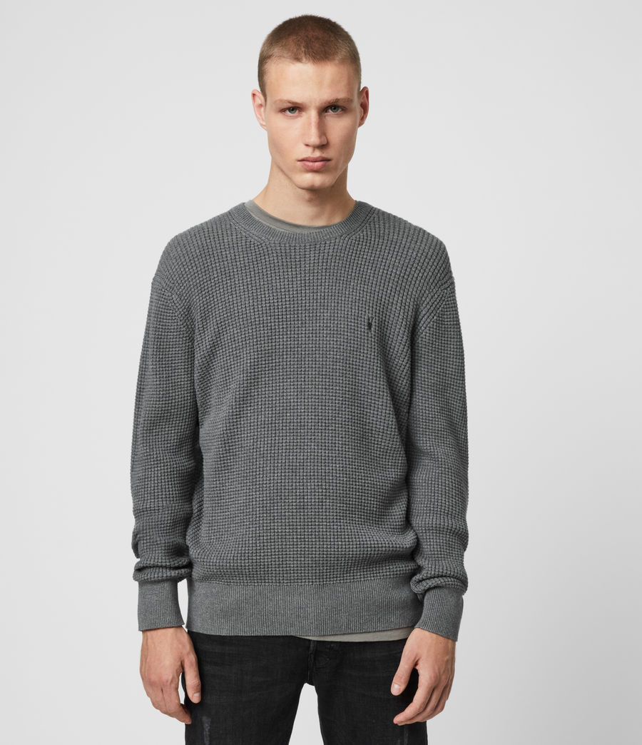Men's Wells Crew Jumper (grain_taupe) - Image 1