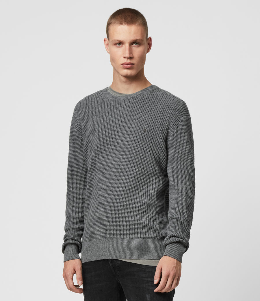 Men's Wells Crew Jumper (grain_taupe) - Image 4