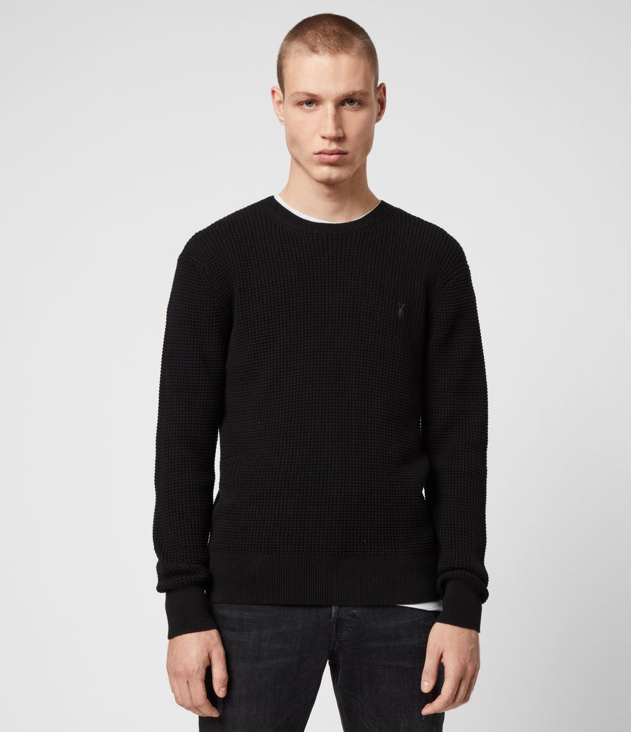 Men's Wells Crew Jumper (black) - Image 1