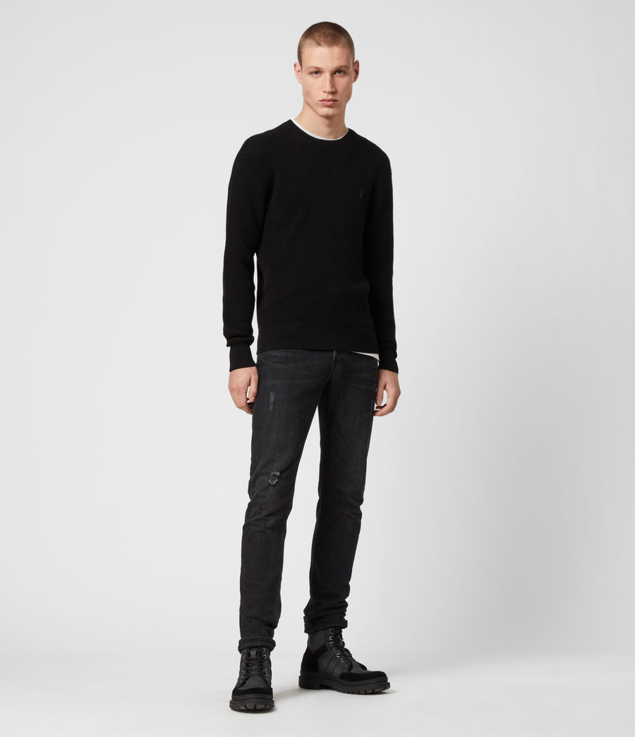 Men's Wells Crew Jumper (black) - Image 3