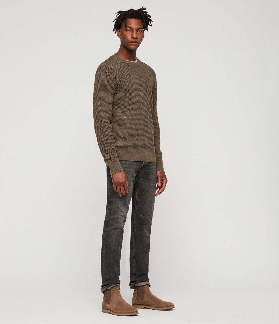 Men's Wells Crew Jumper (bark_green_marl) - Image 1