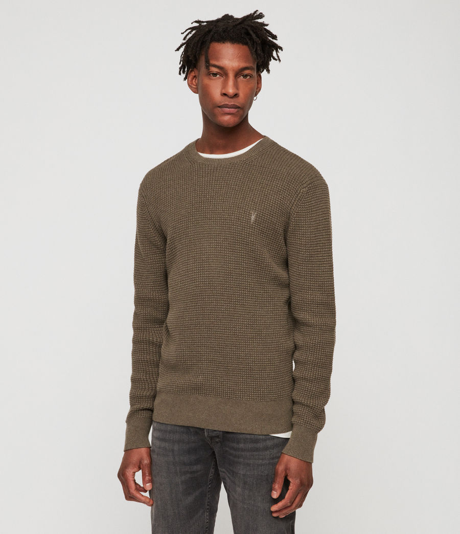 Men's Wells Crew Jumper (bark_green_marl) - Image 2