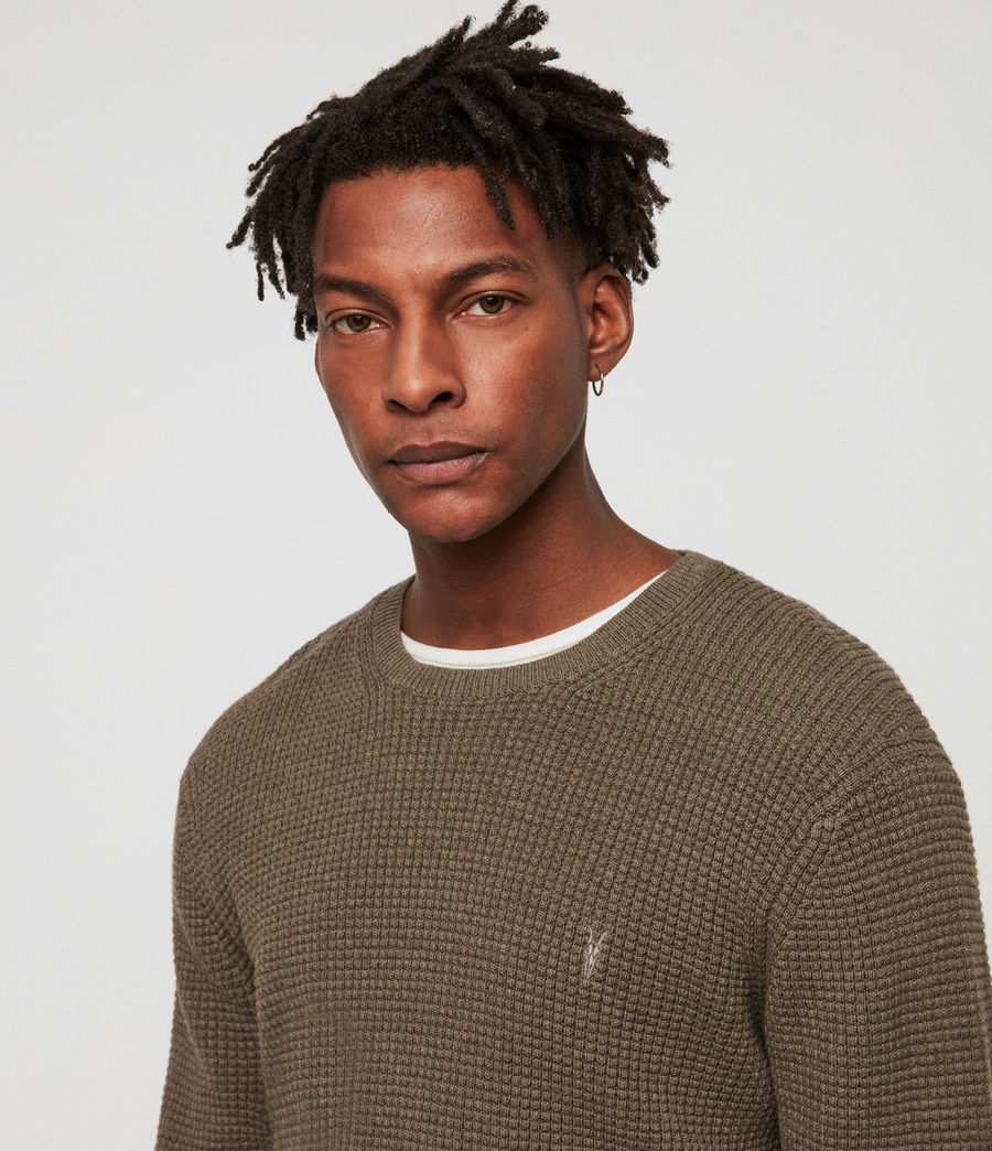 Men's Wells Crew Jumper (bark_green_marl) - Image 3