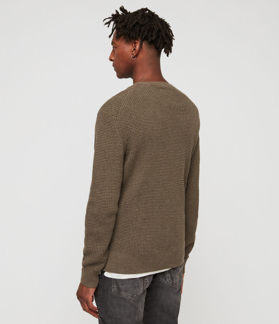 Men's Wells Crew Jumper (bark_green_marl) - Image 4