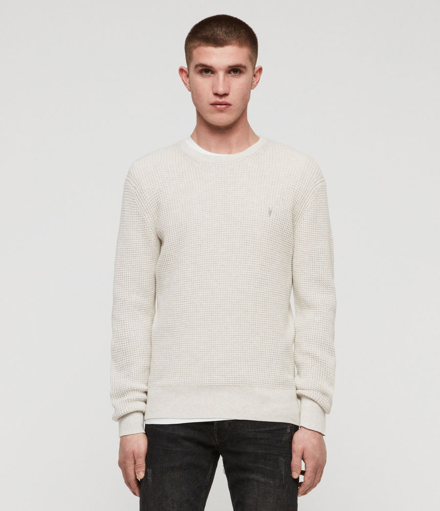 Men's Wells Crew Jumper (ecru_grey_marl) - Image 1