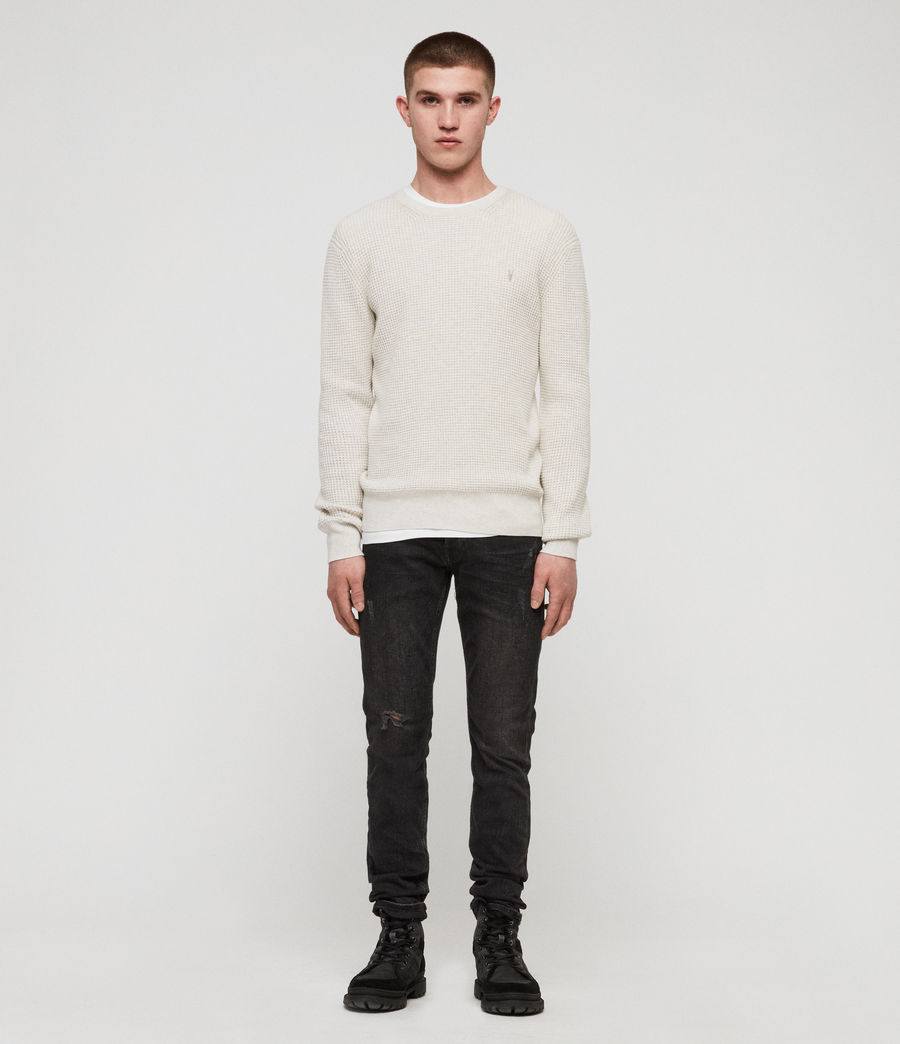 Men's Wells Crew Jumper (ecru_grey_marl) - Image 3