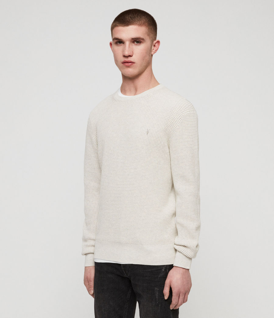 Men's Wells Crew Jumper (ecru_grey_marl) - Image 4