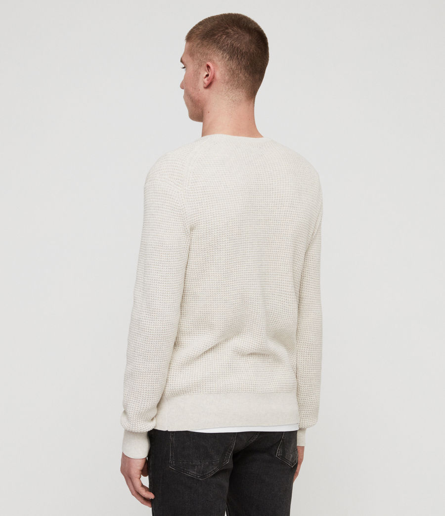 Men's Wells Crew Jumper (ecru_grey_marl) - Image 5