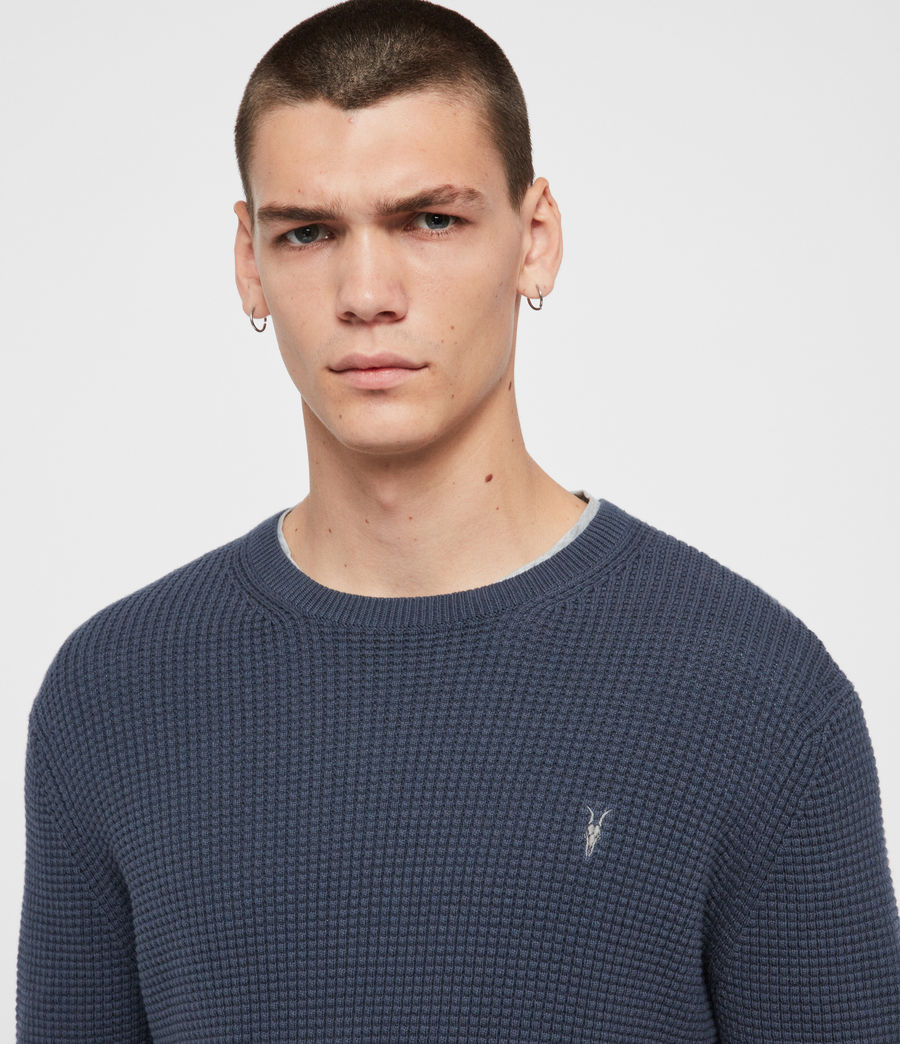 Men's Wells Crew Jumper (pier_blue_marl) - Image 2