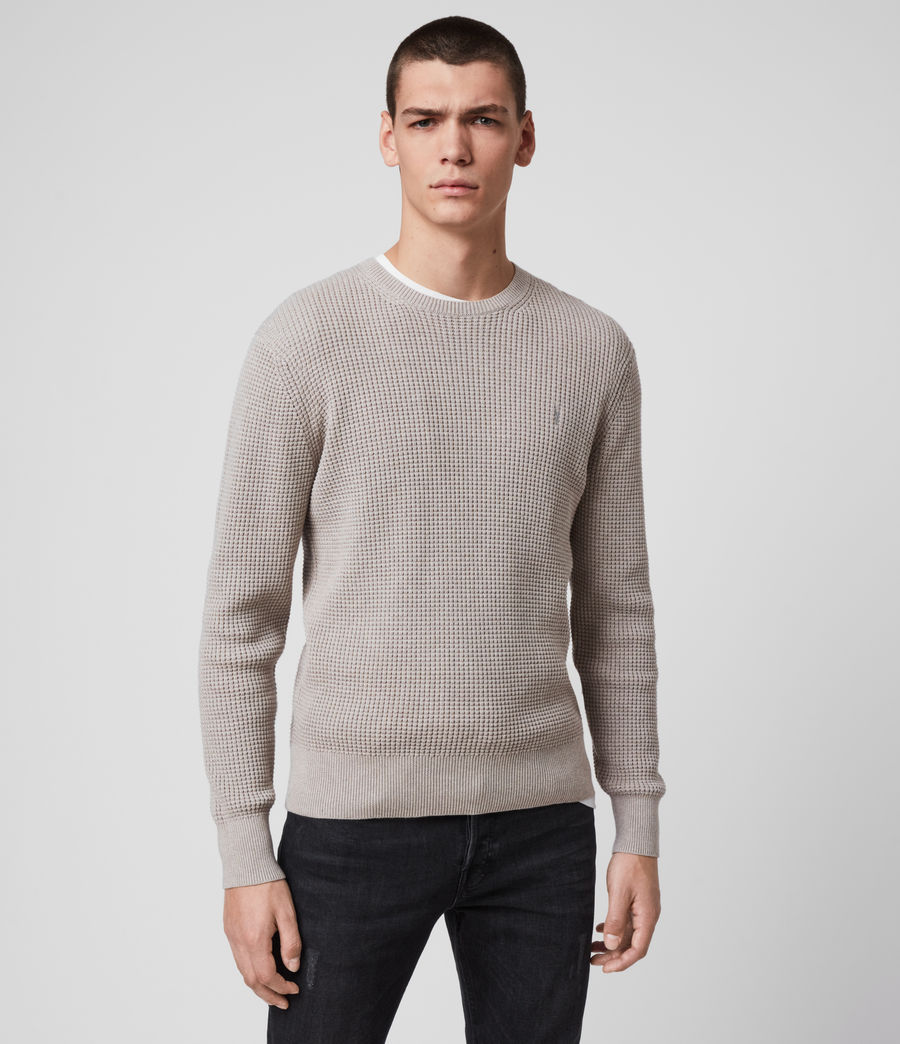 Hombres Wells Crew Jumper (grain_taupe) - Image 1