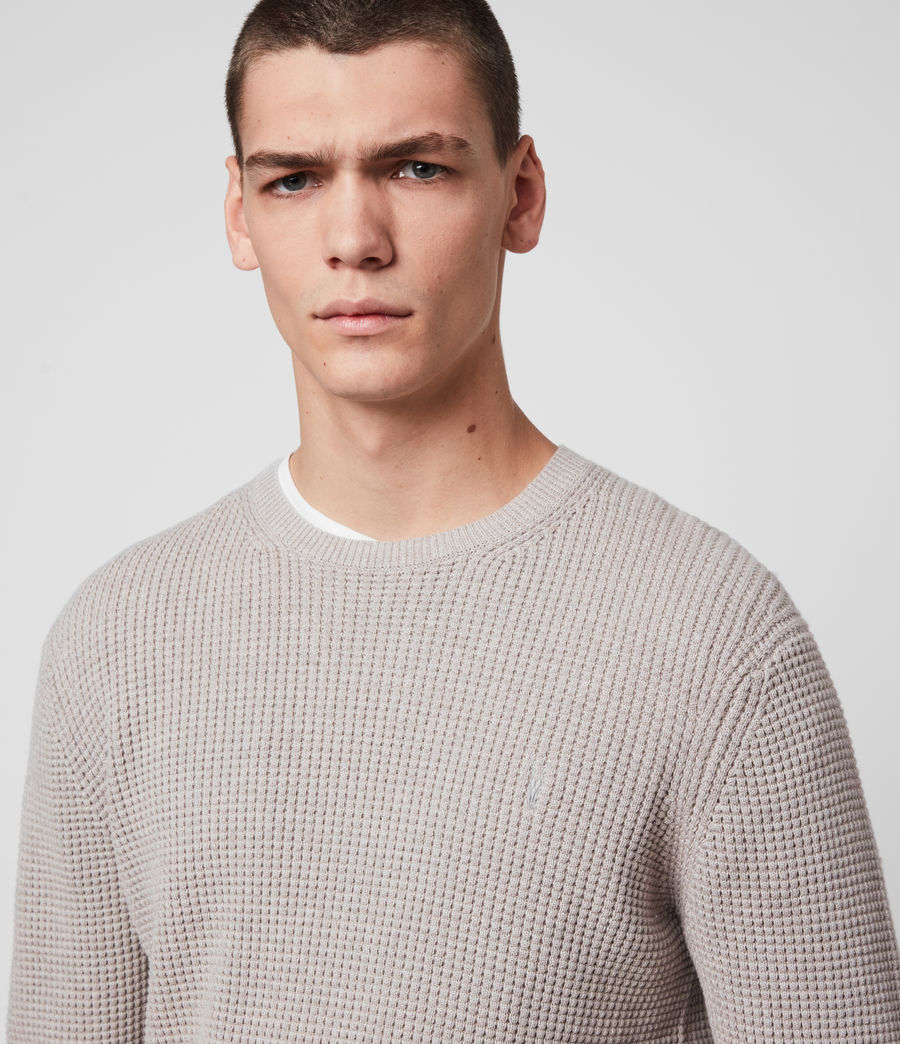 Men's Wells Crew Jumper (grain_taupe) - Image 2