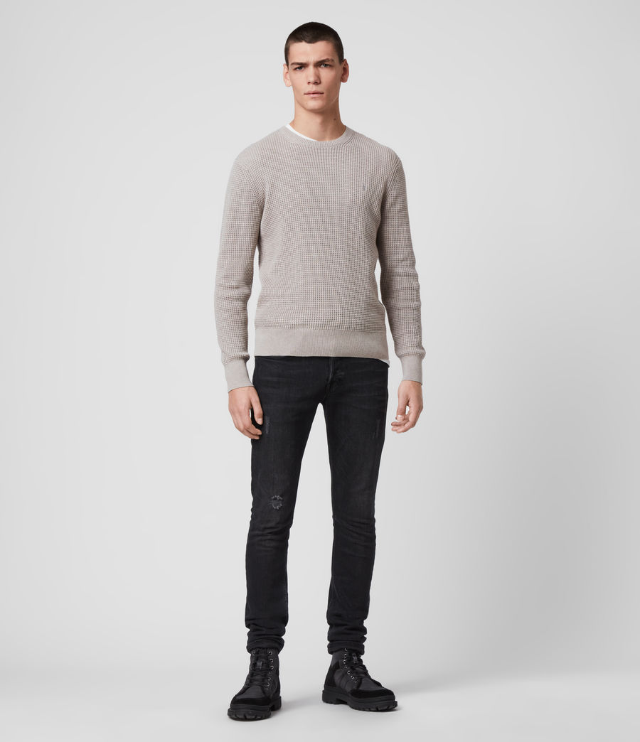 Hombres Wells Crew Jumper (grain_taupe) - Image 3