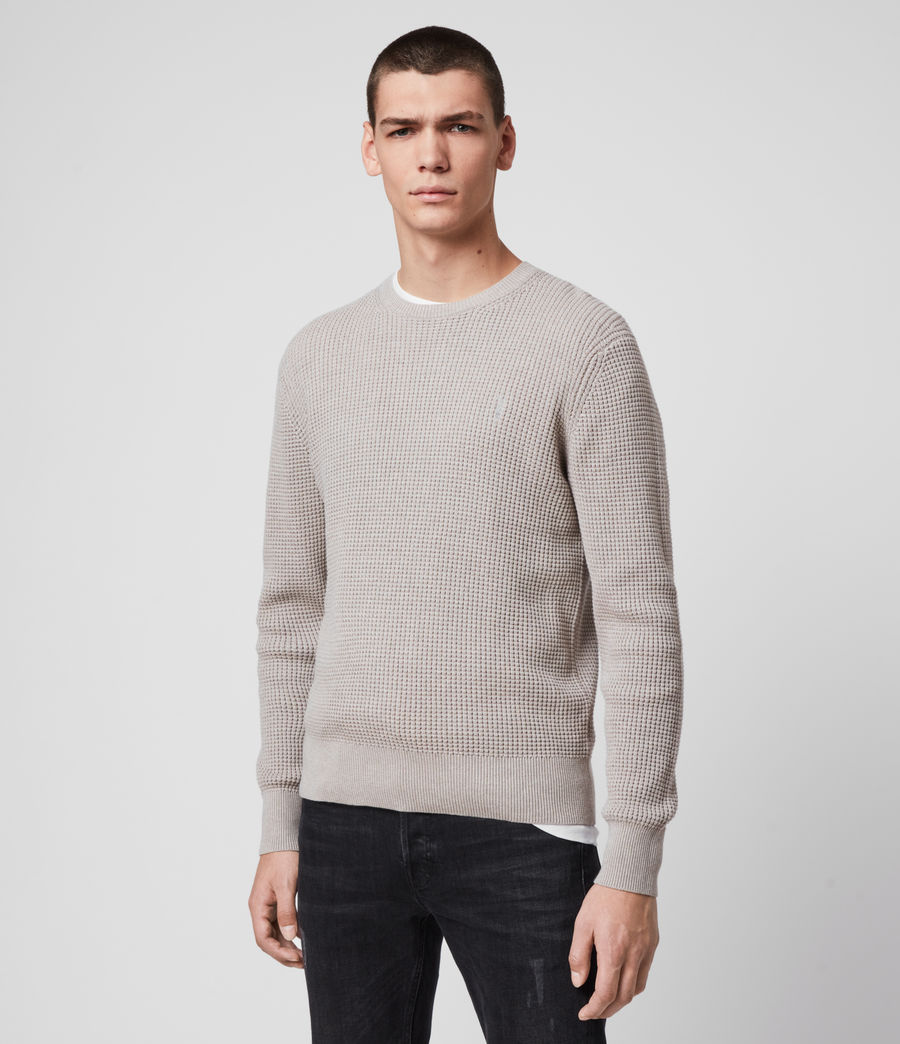 Hommes Wells Crew Jumper (grain_taupe) - Image 4
