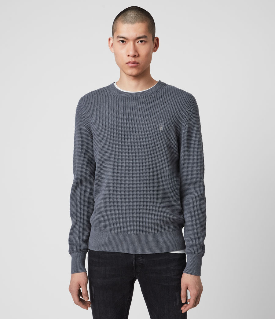 Hommes Wells Crew Jumper (ridge_blue_marl) - Image 1