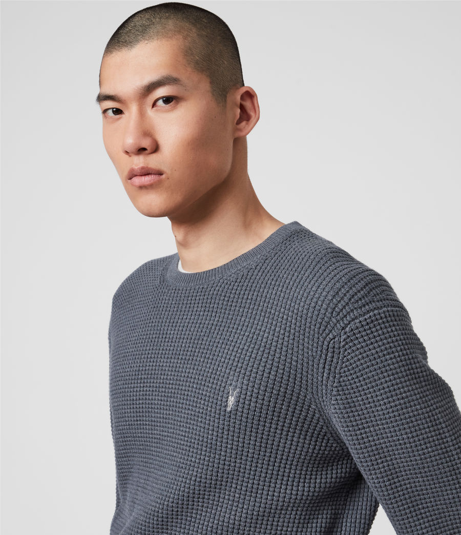 Hommes Wells Crew Jumper (ridge_blue_marl) - Image 2
