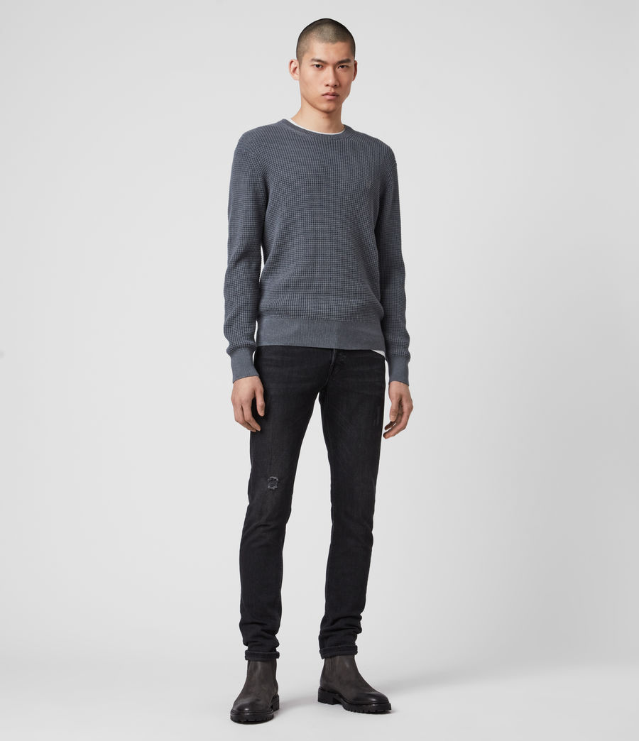 Hommes Wells Crew Jumper (ridge_blue_marl) - Image 3