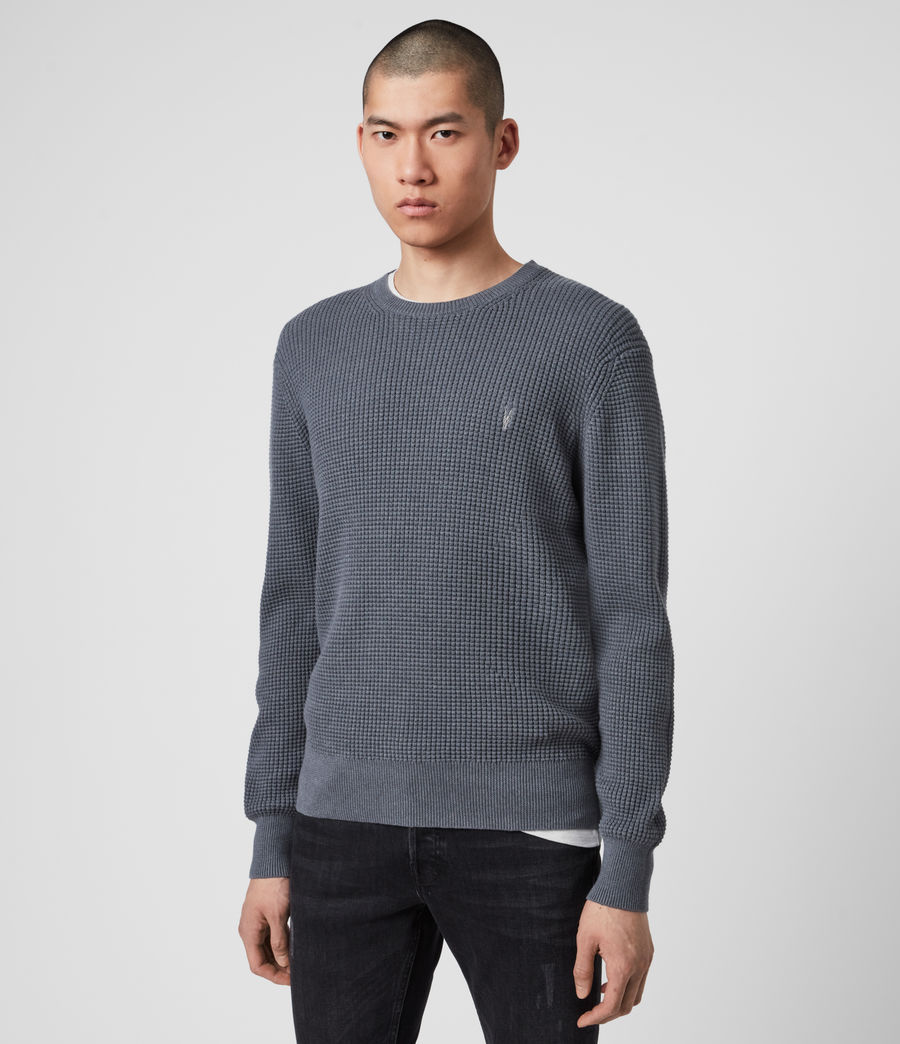 Hommes Wells Crew Jumper (ridge_blue_marl) - Image 4
