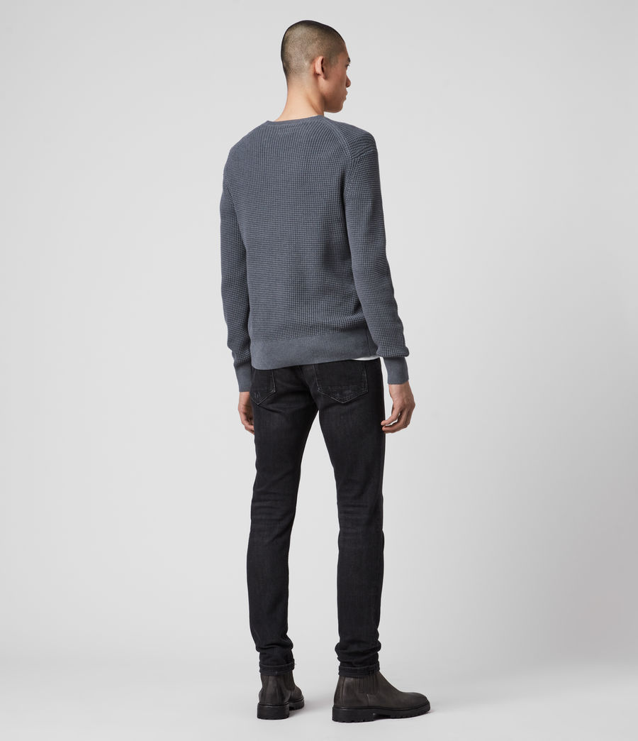 Hommes Wells Crew Jumper (ridge_blue_marl) - Image 5
